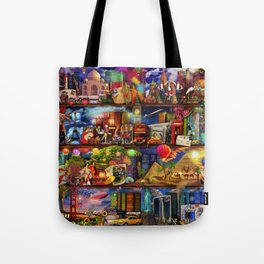 World Travel Book Shelf Tote Bag