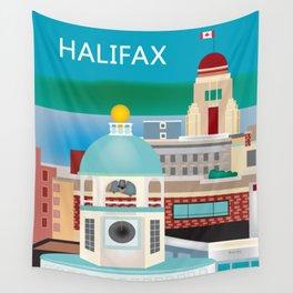 Halifax, Nova Scotia, Canada - Skyline Illustration by Loose Petals Wall Tapestry