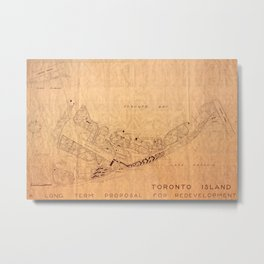 Map Of Toronto Islands 1947 Metal Print