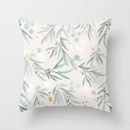 Wispy Leaves - Gray Throw Pillow