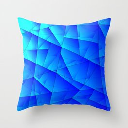 Bright sea pattern of heavenly and blue triangles and irregularly shaped lines. Throw Pillow