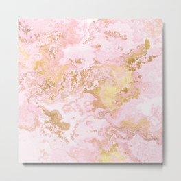 Rose Gold Metal Foil on Pink Marble  -  Summer Girl I Metal Print