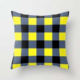 Blue & Yellow Checkered Squares Throw Pillow