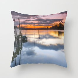 Sunset reflections on the river Throw Pillow