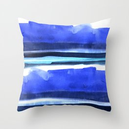 Wave Stripes Abstract Seascape Throw Pillow