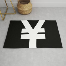 Yen Sign (White & Black) Rug