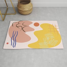 Cracked Egg Yellow and Pink Abstract Shapes  Rug