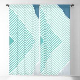 Teal Vibes - Geometric Triangle Stripes Blackout Curtain