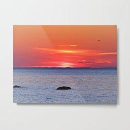 The Rock, The Sea and The Setting Sun Metal Print