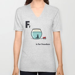 F is for freedom - the irony Unisex V-Neck