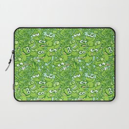 Funny green frogs entangled in a messy pattern Laptop Sleeve