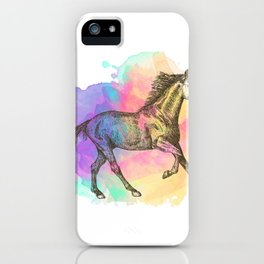 Colorful Horse Gift Horse Lovers Racing Riding iPhone Case