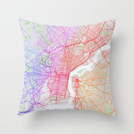 Philadelphia City Map of the United States - Colorful Throw Pillow