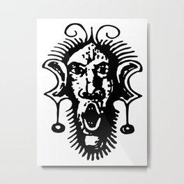 White Fierce Primal Tribal Mask, Wild Mask, Super Smooth Super Sharp 13500px x 10125px PNG Metal Print