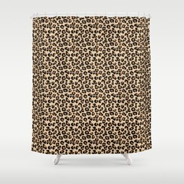 Leopard Print, Black, Brown, Rust and Tan Shower Curtain