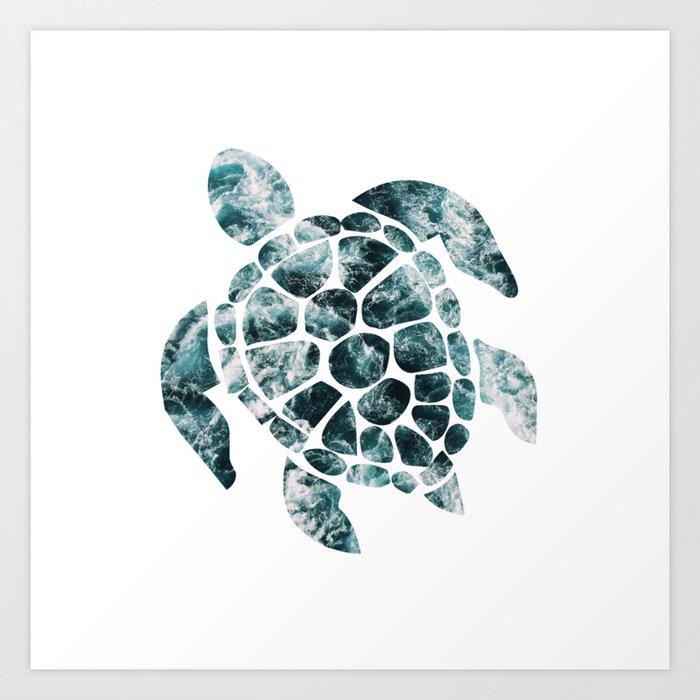 Sea Turtle - Turquoise Ocean Waves Kunstdrucke