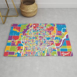 Lawrence Kansas City Map Rug