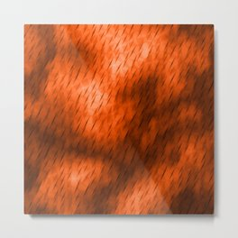 Line texture of brown oblique dashes with a bright intersection on a luminous charcoal. Metal Print
