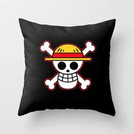 Straw hat Flag Throw Pillow