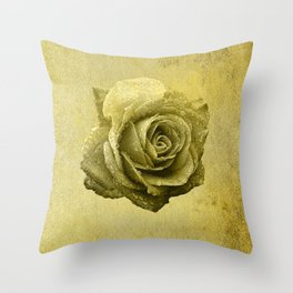 Metallic Gold Rose Flower Luxury Floral Victorian Bohemian Girly Wedding Bride Throw Pillow