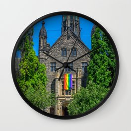 Church With LGBT Pride Flag Wall Clock