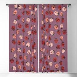 All over Modern Ladybug on Mauve Pink Background Blackout Curtain