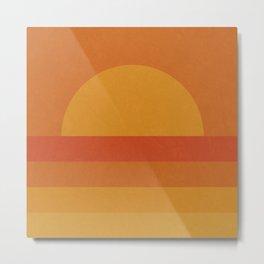 Retro Geometric Sunset Metal Print