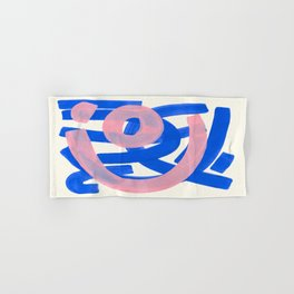 Tribal Pink Blue Fun Colorful Mid Century Modern Abstract Painting Shapes Pattern Hand & Bath Towel