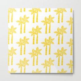 Palm Tree Pattern Yellow Metal Print