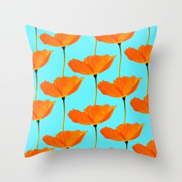 Poppies On A Turquoise Background #decor #society6 #buyart Throw Pillow