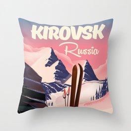 Kirovsk Russia Ski poster Throw Pillow