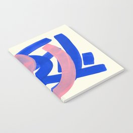Tribal Pink Blue Fun Colorful Mid Century Modern Abstract Painting Shapes Pattern Notebook