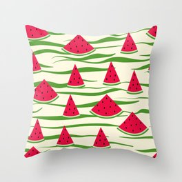 Juicy slices of watermelon Throw Pillow