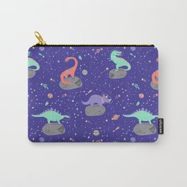 Dinosaurs Floating on Asteroids - Purple Carry-All Pouch