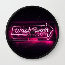 Wash Room - Neon Sign Wall Clock
