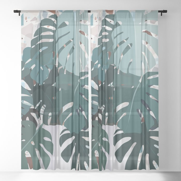 leaves+terrazzo Sheer Curtain