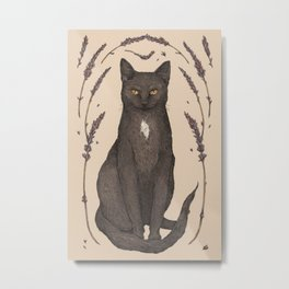 The Cat and Lavender Metal Print