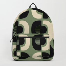 Retro Mid Century Modern Pattern 114 Black and Sage Green Backpack