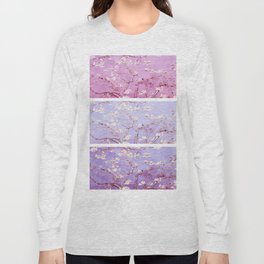 Vincent Van Gogh : Almond Blossoms Lavender Panel Art Long Sleeve T-shirt