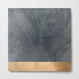 Slate Gray Stucco w Shiny Copper Metallic Trim - Faux Finishes - Rustic Glam - Corbin Henry Metal Print