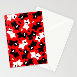 The pattern of butterflies. White and black butterfly on a red background. Stationery Cards