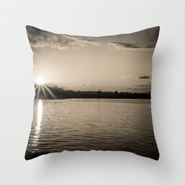 Sundown At Lake Heve 3 sepia Throw Pillow