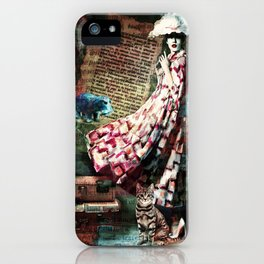 Cat, Woman and Hat iPhone Case