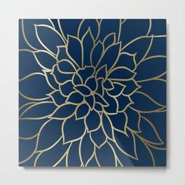 Floral Prints, Line Art, Navy Blue and Gold, Artist Prints Metal Print