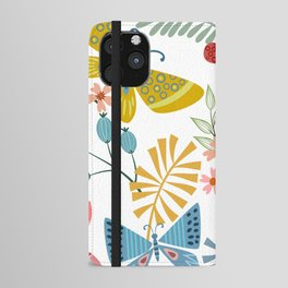 Cute, Colorful, Butterfly and Floral Garden iPhone Wallet Case