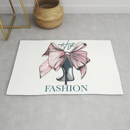 Fashion vector illustration with female elegant shoe and bow in watercolor style  Rug