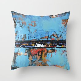 Stallion Blue Modern Painting Abstract Art Landscape Throw Pillow