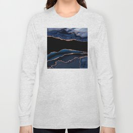 Indigo Blue and Rose Gold Marble Agate Long Sleeve T-shirt
