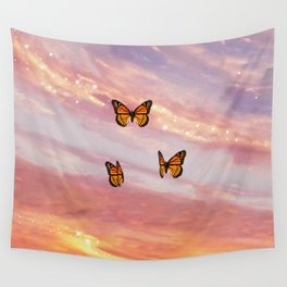 Butterfly Sunset Aesthetic Wall Tapestry