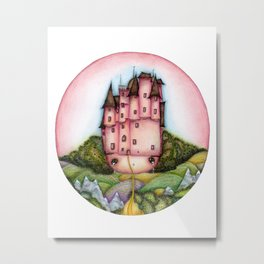 Fantasy old pink castle on the head of fairy girl among the woods Metal Print